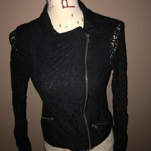 Mudd Black Lace Zip Up Jacket